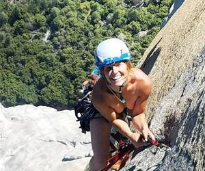 美男女攀岩登山只穿鞋 双双创下个人最快纪录